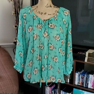 Teal w/daisies blouse by Lily White SZ Large
